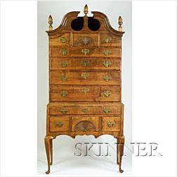 Queen Anne Cherry and Maple Scroll-top High Chest of Drawers,