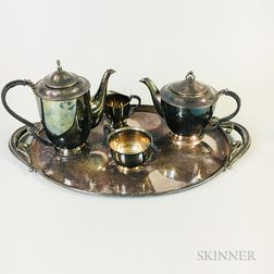 Four-piece Danish Modern Silver-plated Coffee and Tea Service and a Sterling Silver Tray