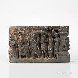 Gandharan Gray Schist Stele