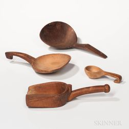 Four Carved Wood Scoops
