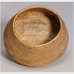 Historic California Coiled Basketry Bowl