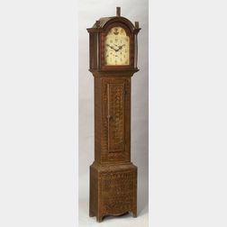 Fancy Painted Pine Tall Case Clock