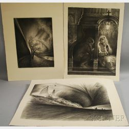 Richard C. Harden (American, b. 1956)      Three Unframed Lithographs: Confession ,  Spree Canal