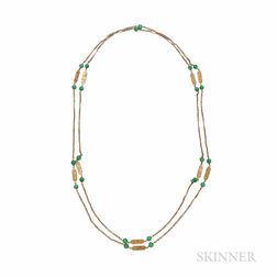 14kt Gold and Jade Longchain
