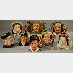 Eight Large Royal Doulton Ceramic Character Jugs
