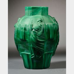 Czech Art Deco Malachite Pressed Art Glass Ingrid Vase