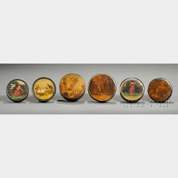 Six Assorted Round Snuff Boxes