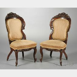 Pair of American Victorian Laminated Rosewood Side Chairs