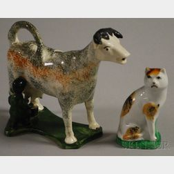 Staffordshire Pottery Cow Creamer with Milkmaid and a Calico Cat Figure