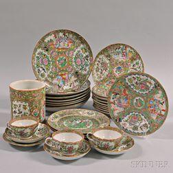 Twenty-nine Pieces of Rose Medallion Porcelain Tableware