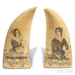 Pair of Scrimshaw Whale's Teeth with Portraits of Women