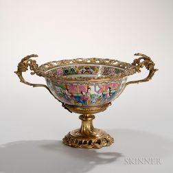 Gilt-bronze-mounted Faux Rose Mandarin Bowl