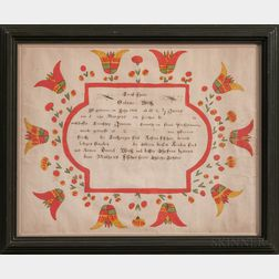 Union County Watercolor Birth Fraktur for Salmoe Weis