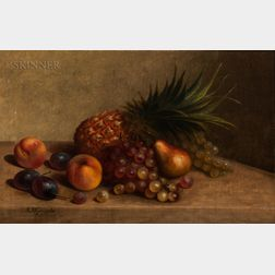 Arnoud Wydeveld (American, 1823-1888)      Still Life with Pineapple and Other Fruits