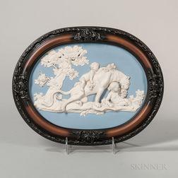 Wedgwood & Bentley Solid Blue Jasper Oval Jasper Plaque