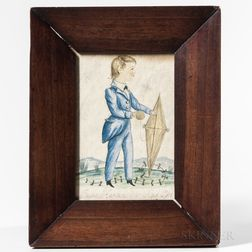 Anglo/American School, 19th Century      Miniature Portrait of a Boy with a Kite