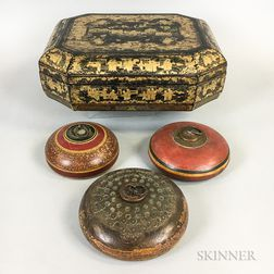 Chinese Export Lacquered Box and Three Paint-decorated Opium Boxes.     Estimate $150-250