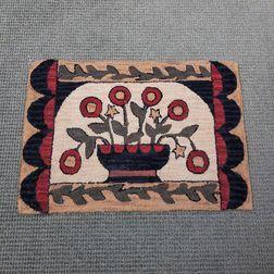 Modern Hooked Rug Depicting a Basket of Flowers