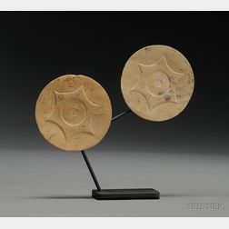 Pair of Prehistoric Carved Stone Ear Spools