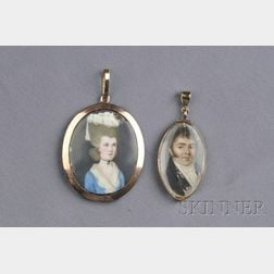 Two Antique Portrait Pendants
