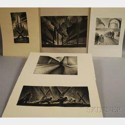 Richard C. Harden (American, b. 1956)      Five Unframed Lithographs: Between the Walls ,  Forbidden City