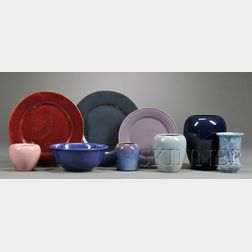 Nine Paul Revere Pottery Vases, Bowl, and Plates