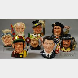 Eight Large Royal Doulton Ceramic Character Jugs