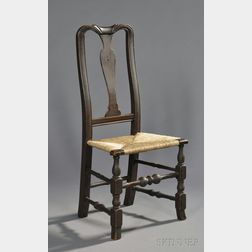 Queen Anne Carved Maple Paint-decorated Spanish-foot Side Chair
