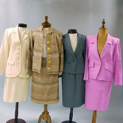 Four Yves Saint Laurent Cotton and Wool Lady's Suits