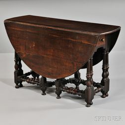 English Oak William and Mary-style Gate-leg Table