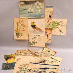 Nineteen Assorted Kacho-e   Woodblock Prints