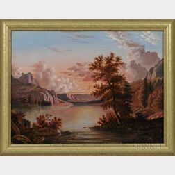 American School, Mid-19th Century      Sunset River Landscape