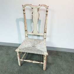 White-painted Rush-seat Vase-back Side Chair