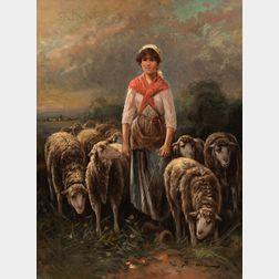 Edouard Sanchez (French, 19th/20th Century)      Shepherdess with Flock
