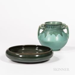 Roseville Pottery Handled Vase and a Weller Pottery Bulb Bowl