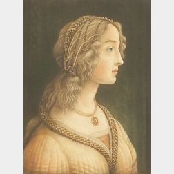 Lot of Two Color Mezzotint Portraits: Samuel Arlent Edwards (British, b. 1861) after Sandro Botticelli (Italian, 1440-1510), Lucretia T
