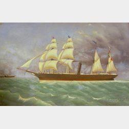 American School, 19th/20th Century   Steam and Sail Vessel.