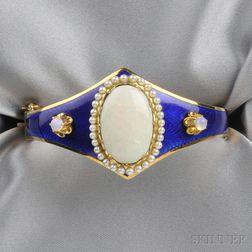 14kt Gold, Opal, and Enamel Bracelet