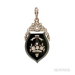 Victorian Onyx and Rose-cut Diamond Locket