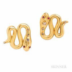 Gold and Diamond Snake Earrings