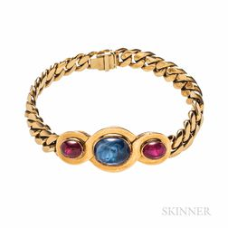18kt Gold, Sapphire, and Ruby Bracelet
