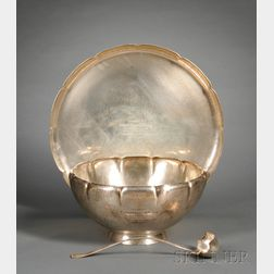 Large Whiting Manufacturing Co. Sterling Arts & Crafts Presentation Punchbowl, Undertray and Ladle