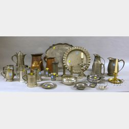 Thirty-five Pieces of Pewter, Brass, and Copper Tableware and Other Items