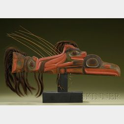 Northwest Coast Carved and Painted Wood Finial