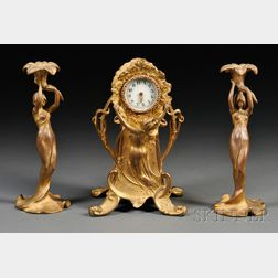 New Haven Clock Co. Art Nouveau Gilt-metal Figural Table Clock and a Pair of   Candlesticks