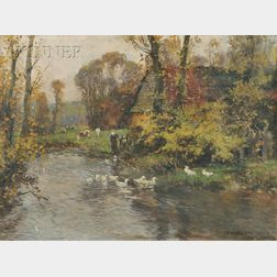Frederic Charles Vipond Ede (American, 1865-1943)      Figure with Geese and Cows Along a Riverbank