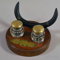 Carved Wood Inkstand