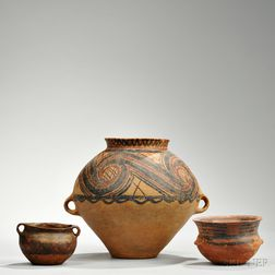 Large Painted Neolithic Jar and Two Neolithic Jarlets