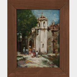 Framed Oil on Board of a Spanish-style Church
