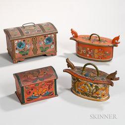 Four Scandinavian Paint-decorated Boxes